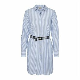 Cotton Striped Shirt Dress with Belt