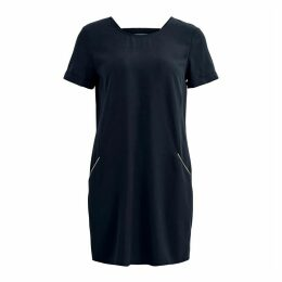 Short-Sleeved Shift Dress with Open Back