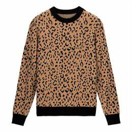 Cotton Mix Jumper in Jacquard Leopard Print