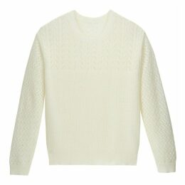 Pointelle Knit Ribbed Jumper with Round Neck