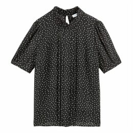 Polka Dot Ruffled Blouse with High Neck