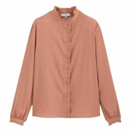 Cotton Ruffled-Neck Shirt with Long Sleeves