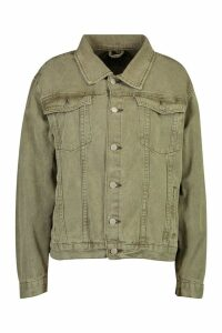 Womens Super Oversize Rigid Denim Jacket - green - 16, Green