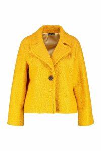 Womens Plus Short Button Faux Fur Teddy Coat - yellow - 16, Yellow