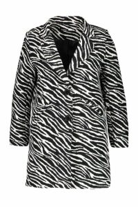 Womens Plus Zebra Print Coat - black - 18, Black