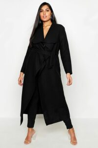 Womens Plus Maxi Length Wool Look Wrap Coat - black - 18, Black