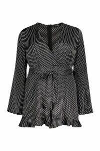 Womens Plus Polka Dot Flare Sleeved Ruffle Playsuit - black - 20, Black