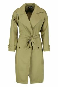 Womens Petite Longline Trench Coat - green - 10, Green