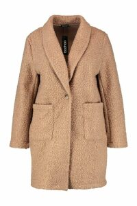 Womens Plus Faux Teddy Duster Jacket - beige - 20, Beige