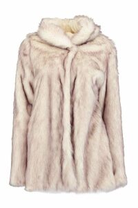 Womens Boutique Hooded Faux Fur Coat - white - 16, White