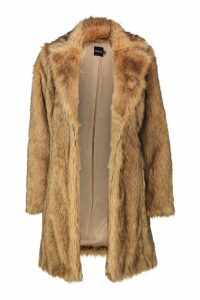 Womens Faux Fur Coat - beige - 16, Beige