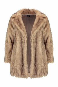 Womens Plus Long Faux Fur Coat - beige - 20, Beige