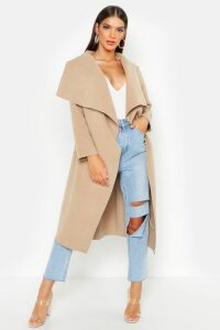 Womens Belted Waterfall Coat - beige - M/L, Beige