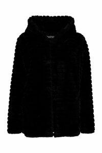 Womens Hooded Faux Fur Coat - black - 14, Black