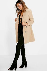 Womens Petite Double Breasted Camel Duster Coat - beige - 14, Beige