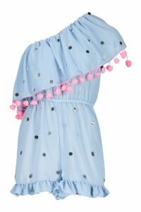Womens Sequin & Pom Pom Bardot Beach Playsuit - blue - M, Blue