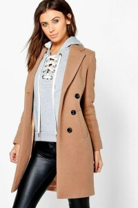 Womens Petite Double Breasted Camel Duster Coat - beige - 4, Beige
