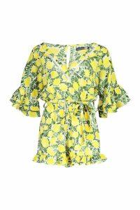 Womens Tall Lemon Print Frill Hem Tie Waist Playsuit - yellow - 10, Yellow