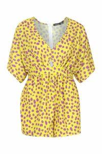 Womens Tall Leopard Print Kimono Sleeve Playsuit - yellow - 12, Yellow