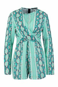 Womens Tall Snake Print Twist Front Playsuit - blue - 12, Blue
