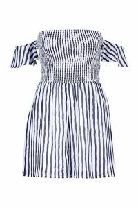 Womens Tall Stripe Shirred Tie Sleeve Playsuit - navy - 12, Navy
