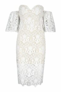 Womens Premium Flared Sleeve Lace Midi Dress - white - 12, White