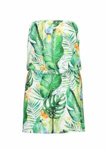 Womens Tropical Parrot Jersey Beach Playsuit - green - M, Green