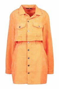 Womens Tall Neon Cord Crop Jacket - orange - 14, Orange
