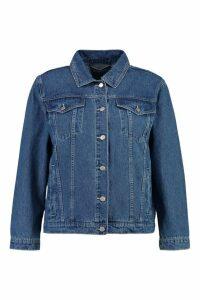 Womens Plus Sally Embroidered Denim Jacket - blue - 20, Blue