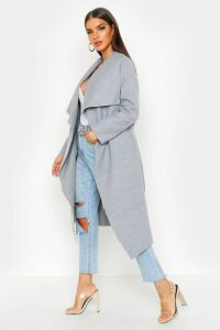 Womens Belted Waterfall Coat - grey - M/L, Grey