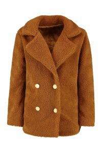 Womens Double Breasted Teddy Faux Fur Coat - brown - 14, Brown