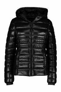 Womens Hooded Cire Panelled Jacket - black - 10, Black