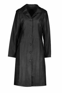 Womens PU Button Up Trench - black - 10, Black