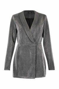Womens Metallic Tuxedo Style Playsuit - grey - 14, Grey