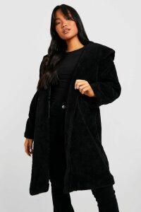 Womens Petite Oversized Hooded Teddy Coat - black - 12, Black