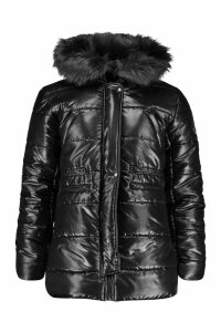 Womens Cire Padded Faux Fur Hooded Parka - black - M, Black