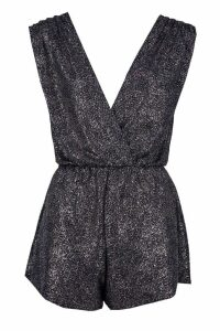 Womens Wrap Over Glitter Playsuit - black - 14, Black