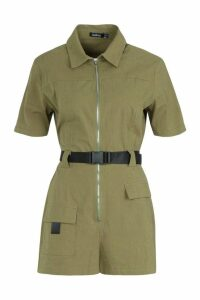 Womens Utility Safety Buckle Cargo Playsuit - green - 14, Green