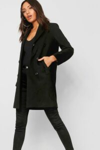 Womens Double Breasted Coat - black - 14, Black