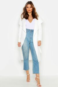 Womens Belted Shawl Collar Coat - white - One Size, White