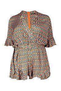 Womens Plus Geo Satin Ruffle Wrap Playsuit - orange - 24, Orange