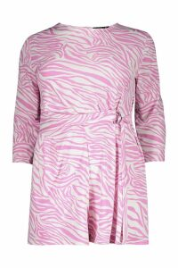 Womens Plus Zebra Print Belted Playsuit - Pink - 16, Pink