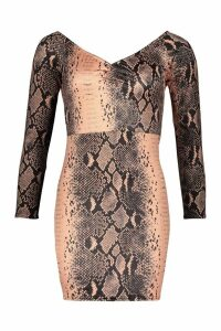 Womens Petite Snake Off The Shoulder Bodycon Dress - brown - 8, Brown