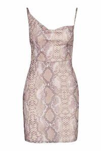 Womens Petite Sequin Snake Mesh Cowl Mini Dress - beige - 10, Beige