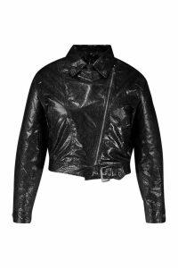 Womens Plus Snake PU Biker Jacket - black - 18, Black