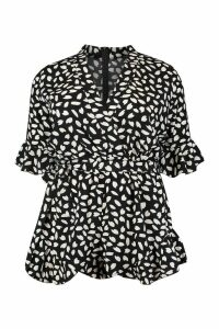 Womens Plus Wrap Ruffle Smudge Print Playsuit - black - 22, Black