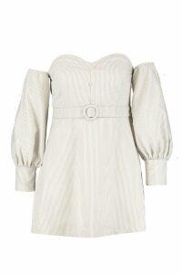 Womens Plus Sweetheart Neck Button Balloon Sleeve Dress - cream - 20, Cream