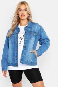 Womens Plus Oversized Vintage Look Denim Jacket - light wash - 20, Light Wash