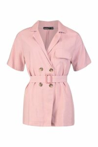 Womens Petite Linen Utility Belted Playsuit - pink - 12, Pink