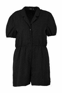 Womens Plus Polka Dot Revere Collar Playsuit - black - 24, Black